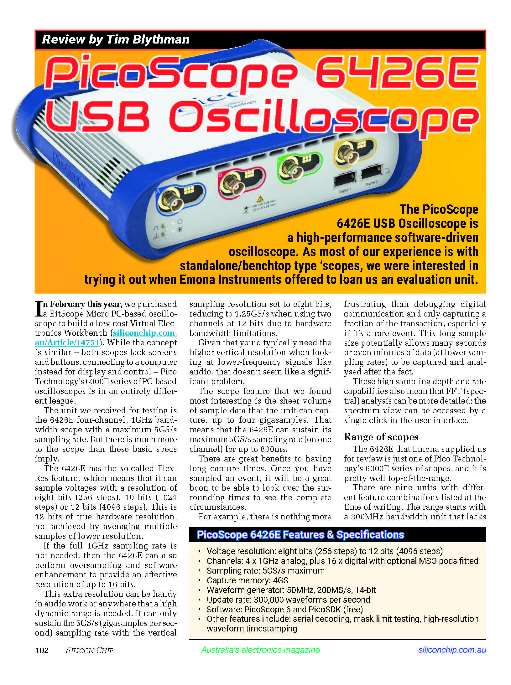 Silicon Chip PicoScope 6426E Oscilloscope Review